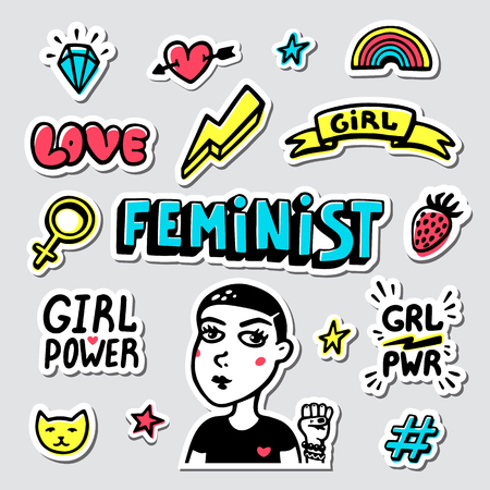 Feminist sticker set. Feminist cute hand drawing illustration for print, brochure, greeting card, bag, clothing. Girl portrait, inscriptions and icons for pins and stickers. Vector illustration