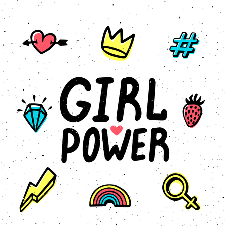 Girl power card. Girl Power hand drawing inscription and colorful icons. Vector illustration.