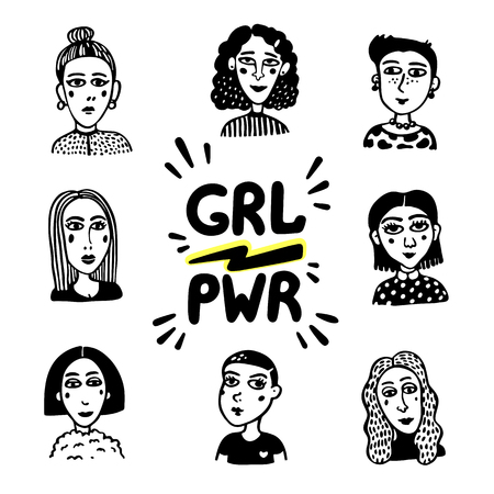 Girl power movement. Doodle style Girl portraits and feminist slogan grl pwr on white background. Feminist movement, protest action, girl power. Vector illustration Иллюстрация