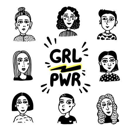 Girl power movement. Doodle style Girl portraits and feminist slogan grl pwr on white background. Feminist movement, protest action, girl power. Vector illustration Stock Illustratie