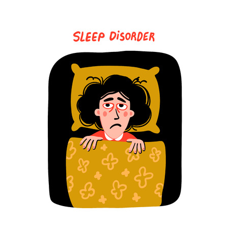 Psychology. Sleep disorder. Woman character with insomnia in bed. Sleepless female person with tired sadness face and red eyes. Doodle slyle flat vector illustration Иллюстрация