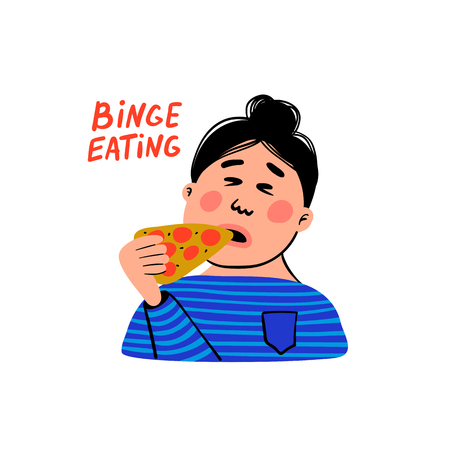 Psychology. Binge eating. Woman character with slice of pizza. Overweight female person suffering from overeating. Doodle slyle flat vector illustration