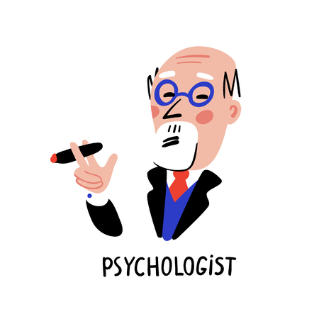 Psychology. Psychologist. Man character with glasses and cigar. Psychology help concept, psychotherapy, solution of psychological problems. Doodle style flat vector illustration Stock Illustratie