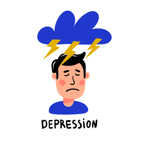 Psychology. Depression. Depressed man character with with thundercloud and lightnings above his head. Doodle style flat vector illustration. Stock Illustratie