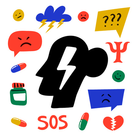 Psychology. Psychological help. Set of hand drawn icons on theme of psychology. Psychology, brain and mental health vector icons or logos set. Doodle style flat vector illustration. Stock Illustratie