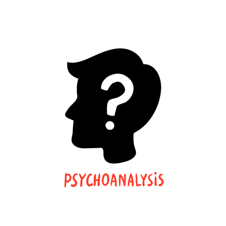 Psychology. Psychoanalysis. Male character silhouette profile with question mark inside. Psychology help concept, therapy, solution of psychological problems. Doodle style flat vector illustration