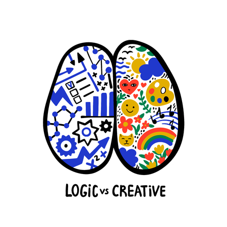 Psychology. Logic vs creative. Left right human brain concept. Hand drawn Creative and logic part with social and business doodle. Doodle style flat vector illustration. Иллюстрация