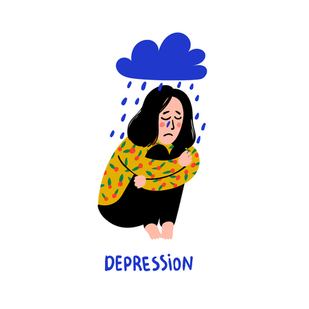 Psychology. Depression. Sad, unhappy girl, sitting under rain cloud. Young woman in depression hugging her knees and crying. Doodle style flat vector illustration. Иллюстрация