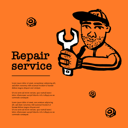 Repair service concept. Web banner with Male character with wrench. Doodle ink style vector illustration Çizim