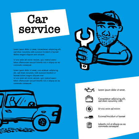 Car service concept. Web banner with scene presents workers in car service, tire service, car repair etc. Doodle ink style vector illustration