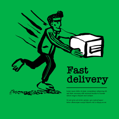 Delivery service concept. Web banner with Delivery guy handing a box on green background. Doodle ink style vector illustration Иллюстрация