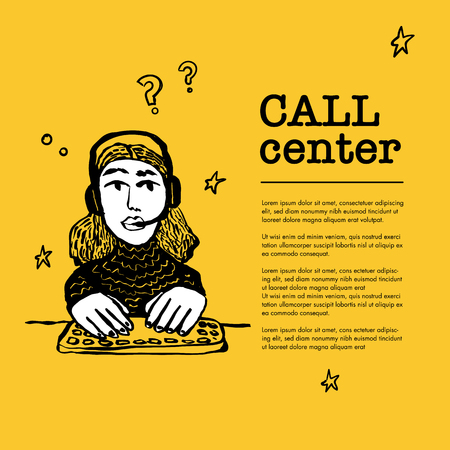 Call center concept. Customer service chat. Web banner with female character with a headset on yellow background. Doodle ink style vector illustration