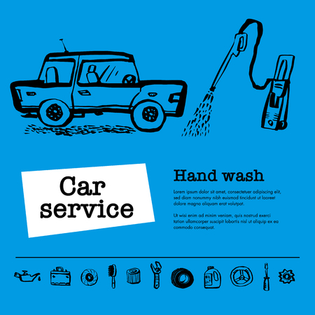 Car service concept. Web banner with scene presents workers in car service, hand wash, tire service, car repair etc. Doodle ink style vector illustration