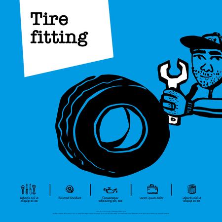 Car service concept. Web banner. Tire fitting, car service, tire service, car repair etc. Doodle ink style vector illustration Çizim