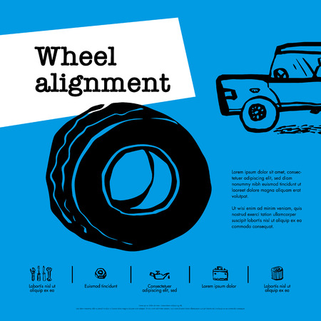 Car service concept. Web banner. Wheel alignment, similarity collapse, tire service, car repair etc. Doodle ink style vector illustration