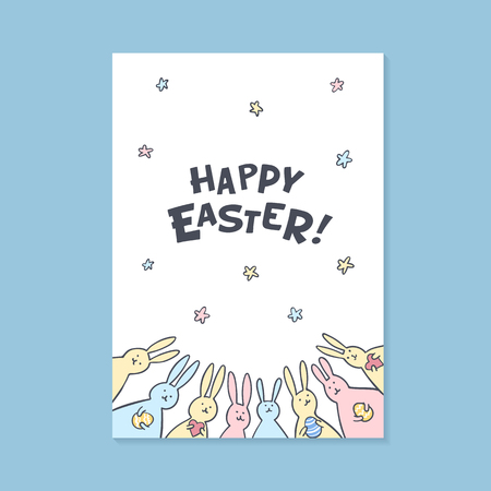 Happy Easter greeting card. Happy easter inscription and cute bunnies on white background. Vector illustration