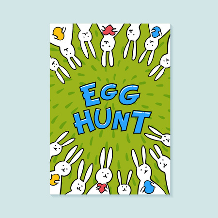Easter greeting card. Egg hunt inscription and cute bunnies on green background. Vector illustration Çizim