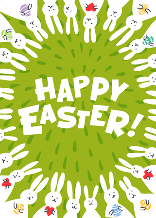 Easter greeting card. Happy easter inscription and cute white bunnies on green background. Vector illustration