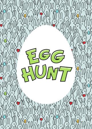 Egg hunt card. Egg with egg hunt iscription on blue bunny pattern bakground. Vector illustration Çizim