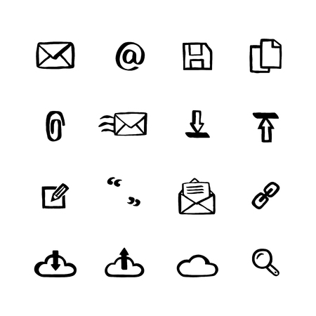 Naive style icon set. Mail services Doodle ink style Set of icons. Vector hand drawn naive style line icons. Çizim