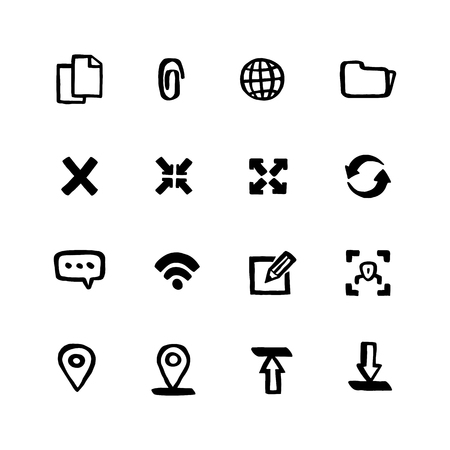 Naive style Web icon set. Web and mobile UI Doodle ink style Set of icons. Vector hand drawn naive style line icons.