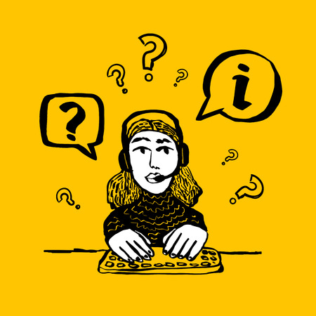 Information center concept. Call center, customer support, helpdesk or info service concept. Web banner with female character with a headset on yellow background. Doodle ink style vector illustration Çizim