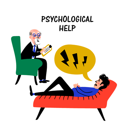 Psychology. Psychological help. Doctor and patient, a man lying on sofa and talking to psychotherapist or psychologist. Doodle style flat vector illustration.