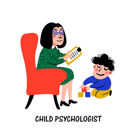 Psychology. Child psychologist. Woman Psychologist tests the child. Preparation for school. Doodle style flat vector illustration. Stock Vector - 124352928