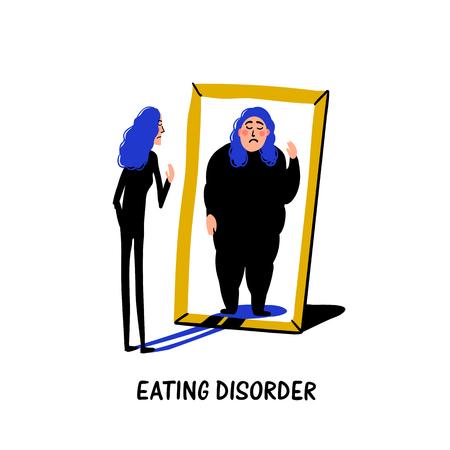 Psicología. Trastorno de la alimentación, anorexia o bulimia. Mujer joven delgada que se mira en el espejo y se ve a sí misma con sobrepeso. Ilustración de vector plano de estilo Doodle.