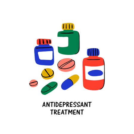 Psychology. Antidepressant treatment. Medication in jars and antidepressants pills. Medical cure against stress and depression. Doodle style flat vector illustration