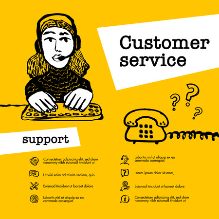 Customer service concept. Support operator chat. Web banner with female character with a headset on yellow background. Doodle ink style vector illustration Çizim