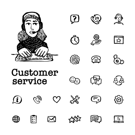 Customer service elements. Help and Support related Vector hand drawn icons and female character on white background. Doodle ink style vector illustration Çizim