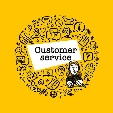 Customer service concept. Online chat. Round shape frame with Help and Support Related Vector hand drawn icons and female character on yellow background. Doodle ink style vector illustration Çizim