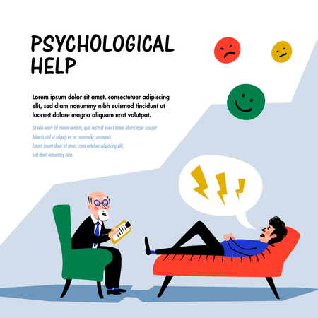 Psychological help. Doctor and patient, a man lying on sofa and talking to therapist. Web banner on theme of psychology. Mental problems, disorders and phobias. Doodle style flat vector illustration