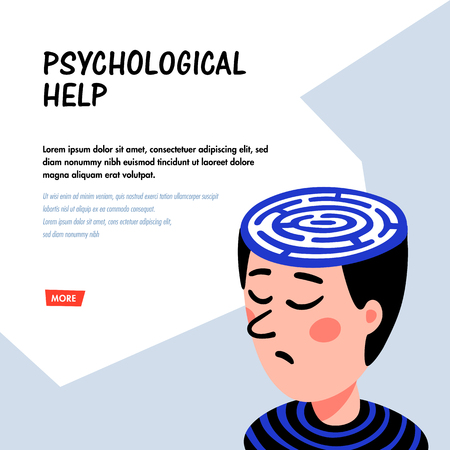 Psychology. Psychoanalysis. Man character with maze in head. Psychology help concept, therapy, neurological diseases, solution of psychological problems. Doodle style flat vector illustration