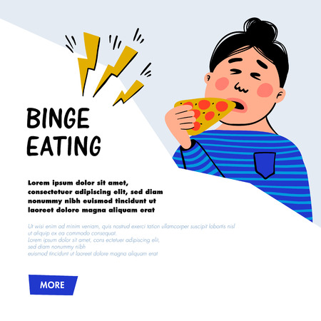 Psychology. Binge eating concept. Woman character with slice of pizza. Overweight female person suffering from overeating. Doodle slyle flat vector illustration