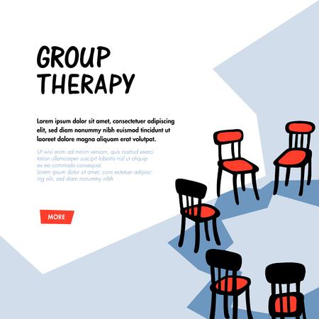 Psicología. Concepto de terapia de grupo. Sillas dibujadas a mano dispuestas en círculo. Apoyo grupal a personas que padecen trastornos psicológicos y adicciones. Ilustración de vector plano slyle Doodle