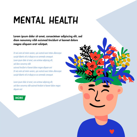 Psychology. Mental health concept. Man character with flower head. Mental health concept, good mood, harmony . Doodle style flat vector illustration Ilustração