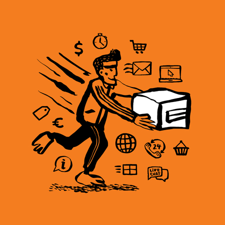 Courier service concept. Web banner with Delivery guy handing a box and delivery service related hand drawn icons on orange background. Doodle ink style vector illustration Illustration
