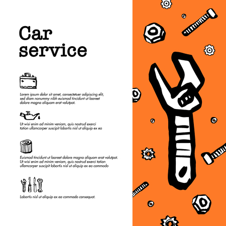 Car service concept. Web banner with car parts, tools and repair related icons. Doodle ink style vector illustration Çizim