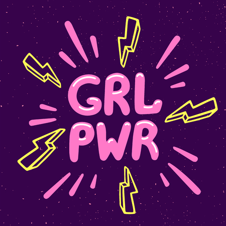 Girl power movement. Feminist slogan grl pwr on violet background. Feminist movement, protest action, girl power. Vector illustration Çizim