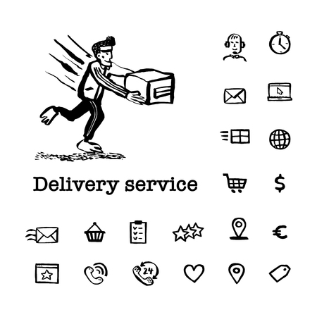Courier service concept. Web banner with Delivery guy handing a box and delivery service related hand drawn icons on white background. Doodle ink style vector illustration.