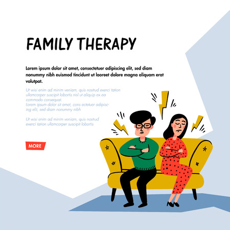 Psychology. Family therapy concept. Unhappy family couple characters on psychotherapist session. Doodle style flat vector illustration Çizim