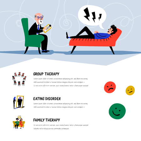 Psychological help. Doctor and patient, a man lying on sofa and talking to therapist. Web banner on theme of psychology. Mental problems, disorders and phobias. Doodle style flat vector illustration Çizim