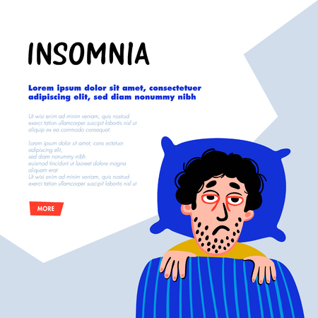 Psychology. Sleep disorder concept. Man character with insomnia in bed. Sleepless male person with tired sadness face and red eyes. Doodle slyle flat vector illustration