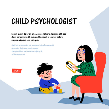 Psychology. Child psychologist concept. Woman Psychologist tests the child. Doodle style flat vector illustration.