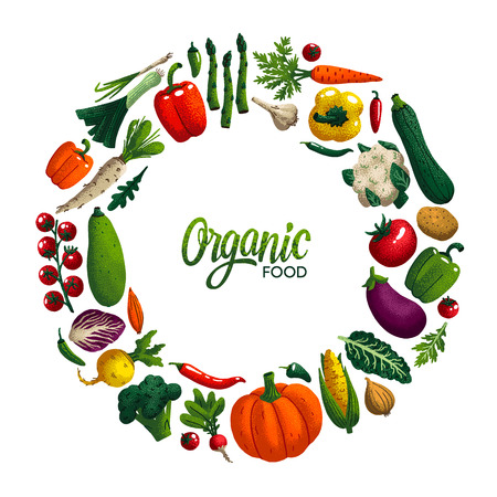 Round shape frame with Vegetables. Variety of decorative vegetables with grain texture isolated on white. Organic food round composition for restaurant menu, market label. Vector illustration Vectores
