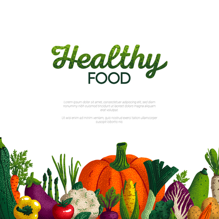 Healthy food banner design. Variety of decorative green vegetables with grain texture on white background. Farmers market, Organic food poster or banner design. Vector illustration