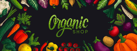 Wide horizontal Healthy eating background. Copy space. Variety of decorative vegetables with grain texture on white background. Farmers market, Organic food poster, cover or banner design. Vector Stockfoto - 122414160