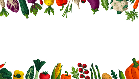 Wide horizontal Healthy eating background. Copy space. Variety of decorative vegetables with grain texture on white background. Farmers market, Organic food poster, cover or banner design. Vector